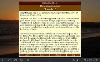 Screenshot of Faith's Checkbook Devotional
