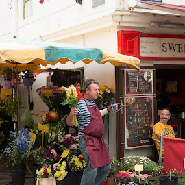 The Flower Vendor by Jay Gould - People Street & Candids ( ireland, color, street, flower vendor, galway )