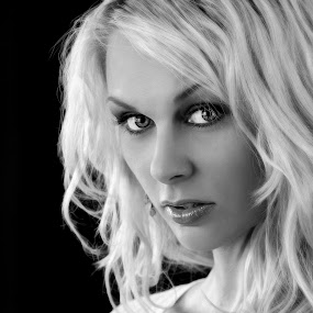The Look of A Blonde by DJ HOGG - People Portraits of Women ( canon, fashion, black and white, bloned, digital, portrait, 5d mark iii, glamor, eyes )