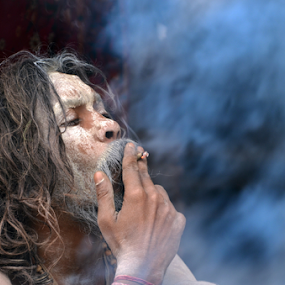 Holy Smoke 1 by Ajay Halder - People Portraits of Men