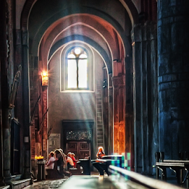 Inside church by Andrea Conti - Buildings & Architecture Other Interior ( arcades, milan, interior, church, window, sant'eustorgio, italy, worship, light )