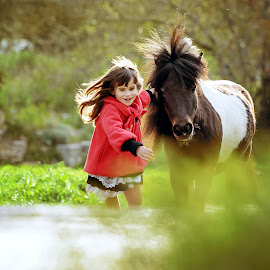 Girl and the pony by Tamara Didenko - Babies & Children Children Candids ( child, pony, girl, childhood, running,  )