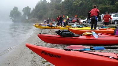 Kayaks ready to go to Tarawera Landing