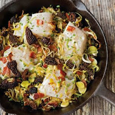 Baked Cod with Leeks, Morels and Bacon