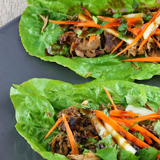 Slow Cooker Smoked Pork Lettuce Wraps with Hoisin Sauce