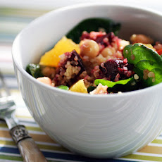 Quinoa Salad Recipe with Roasted Beets, Chick Peas, Baby Spinach and Orange