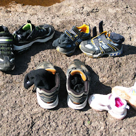 Shoes off to wade in the River. by Dan Dusek - Artistic Objects Clothing & Accessories ( shoes, riverside, socks, artistic objects, riverbank,  )