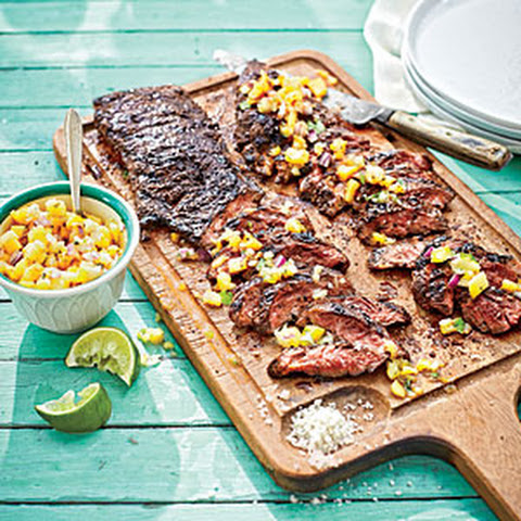 Coffee-Rubbed Steaks with Sweet Potatoes and Succotash Recept | Yummly