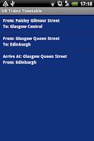 Screenshot of UK Trains Timetable Free