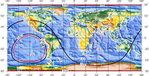 地震走时:2003年12月26日伊朗巴姆地震产生的地震波传到世界各地的理论时间