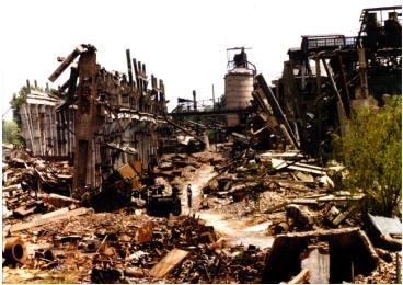唐山地震工厂的破坏
