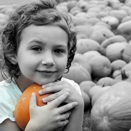 My pumpkin by Mary Beth Schepper - Babies & Children Children Candids ( pumpkin patch, selective color, color, fall, pwc )