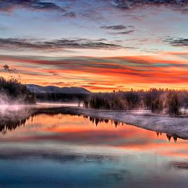 Fisherman's Sunrise by Ryan Searle - Landscapes Sunsets & Sunrises ( wyoming, fall, yellowstone national park, sunrise, fishing bridge )