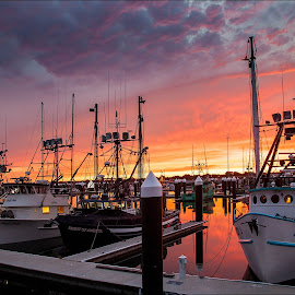 Harbor Sunset ~ Crescent City by Marco Dennis - Landscapes Sunsets & Sunrises ( clouds, northern, sky, harbor, california, sunset, boats, fishing, crescent, city )