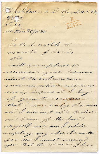 Lucy's letter to the Minister of Lands.