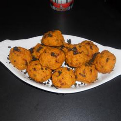Mini Pumpkin Sage Balls with Balsamic Creme Fraiche