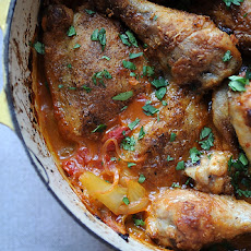 Chicken that Fancies Itself Spanish with Lemons, Onions & Olives