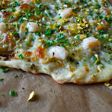 Half Moon Pizza with Melted Green Garlic and Shrimp