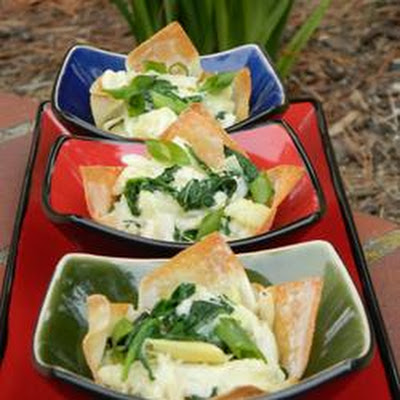 Spinach, Artichoke and Crab Wontons