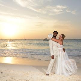 Pastel Sunset by Andrew Morgan - Wedding Bride & Groom ( love, happy, wedding, sunset, bride and groom )