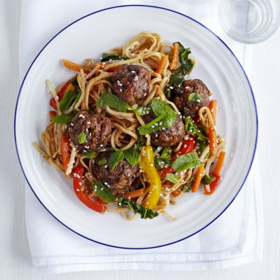 Black Bean Beef Meatballs With Stir-fried Noodles