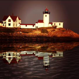 Maine Lighthouse by Janet Lyle - Landscapes Waterscapes ( lighthouse )