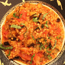 Eggplant and Tomato Sauce with Israeli Couscous