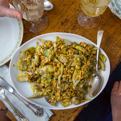 Baby Artichokes with Toasted Hazelnuts and Green Olives