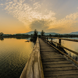 sunset by Francesco Leonardis - Buildings & Architecture Bridges & Suspended Structures ( acqua, torbiere del sebino, landscapes, paesaggio,  )