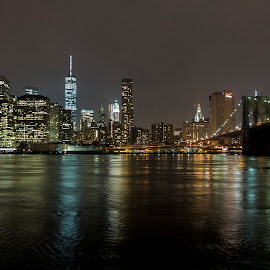 Manhattan at night by Christian Heynert - City,  Street & Park  Skylines ( brooklyn bridge, skyline, world trade center, night, manhattan, cityscape, new york, nyc, usa, empire state )