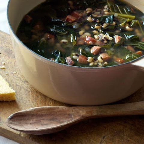 Black-eyed Pea Soup with Andouille and Collards