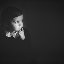 The Thinker by Melina McGrew McConnaughy - Babies & Children Child Portraits ( natural light, black and white, window light, timeless, childhood )