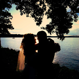 SUNSET LOVE by Rena Spitzley - Wedding Bride & Groom ( wedding photography, sunset, silhouettes, lake, bride and groom,  )