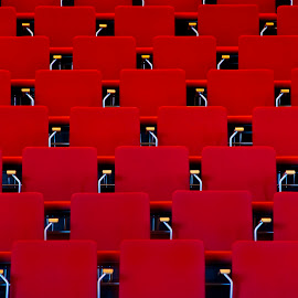 Chairs by Brian Ib Nielsen - Artistic Objects Furniture ( hall, sitting, red, chairs, cinema, movie, theater, rows, room )