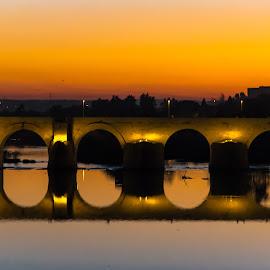Sunset Bridge by Franco Beccari - Buildings & Architecture Bridges & Suspended Structures ( lights, sunset, roman bridge, bridge, dusk, river )
