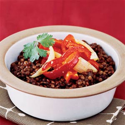 Spicy Lentil Stew with Peppers and Onions
