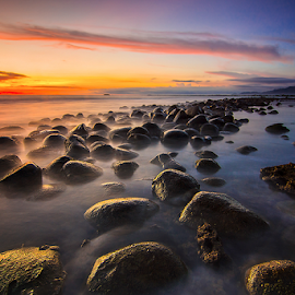 Batu Abuih by Ade Noverzan - Landscapes Sunsets & Sunrises ( sunset, beach, stones, dusk )