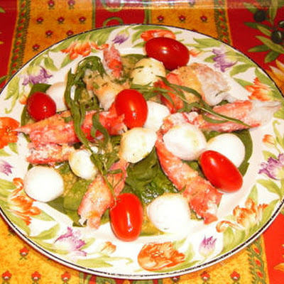Spinach, Crab and Fresh Mozzarella Salad (Paula Salad)