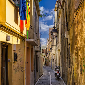 The streets of Rethimno by Krasimir Lazarov - City,  Street & Park  Street Scenes ( greece, street, rethymno, tourism, crete, street scene, architecture, city, rethimno, mediterranean, buildings, island of crete, travel locations )