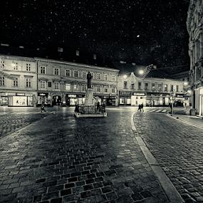 Mesnička ulica by Miro Cindrić - City,  Street & Park  Street Scenes ( moon, strret, night, light, city )