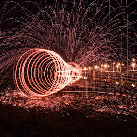 The light tunnel  by Teoh Ying - Abstract Light Painting ( light painting, steel wool, lightart, penang, malaysia, bridge, landscape )