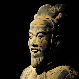 Terracotta warrior by Victor Eliu - Artistic Objects Antiques ( warrior, ancient, artistic, terracotta, on black, object, chinese,  )
