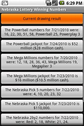 Nebraska Lottery Winning Numbe