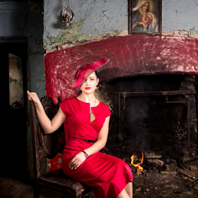 nice isnt it by Michael Croghan - People Portraits of Women ( old, fashion, building, old building, women, portrait, chair, frame, red, girl, floor, fashion shoot, lady, fireplace )