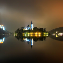 Night On Bled Lake by Miro Zalokar - Buildings & Architecture Other Exteriors