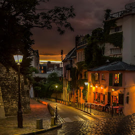 Montmartre Sunset by Sheldon Anderson - City,  Street & Park  Street Scenes ( nigh, sunset, montmartre, romantic, cafe,  )