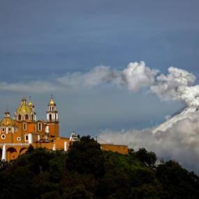 Church and Volcano by Cristobal Garciaferro Rubio - City,  Street & Park  Vistas ( popo, mexico, puebla, popocatepetl, smoking volcano )