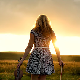 We Part - The Violinist by Dominic Lemoine Photography - People Musicians & Entertainers ( moorland, violin, sunset, woman, outdoors, violinist )