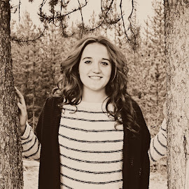 {M.F.} by Samantha Farr - Novices Only Portraits & People ( senior portrait, sepia, family, beautiful smile, yellowstone national park )