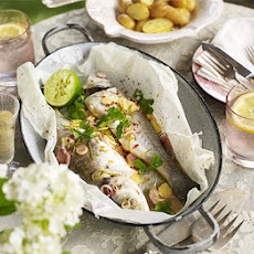 Sea bass en papillote with Thai flavours